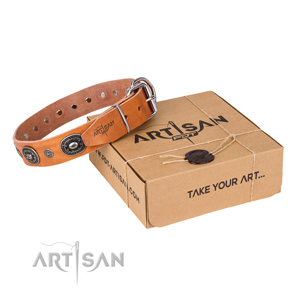 Flexible full grain natural leather dog collar handmade for walking