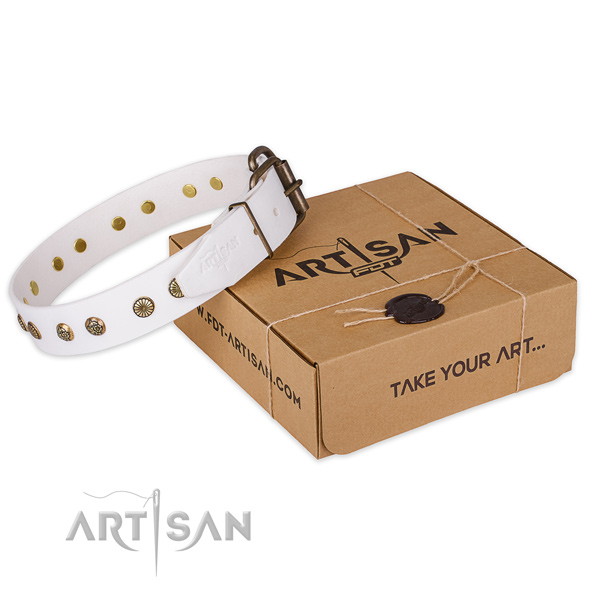 Strong traditional buckle on full grain natural leather collar for your lovely canine