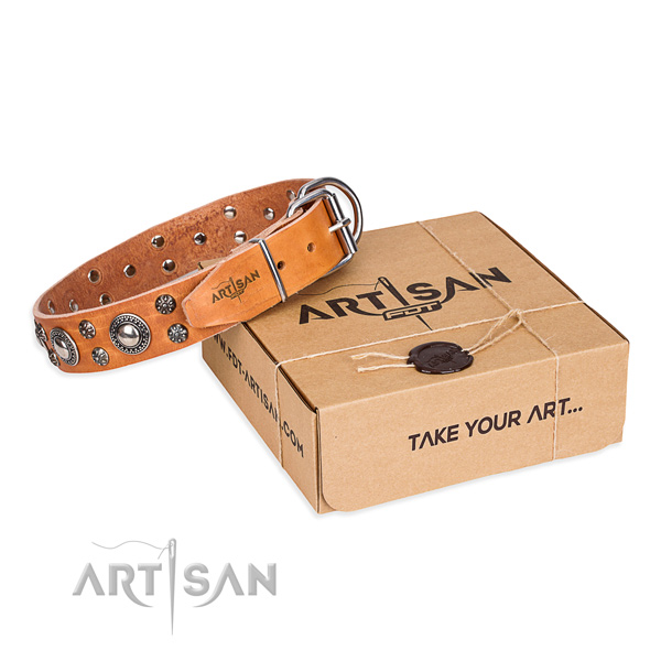 Easy wearing dog collar of fine quality genuine leather with decorations