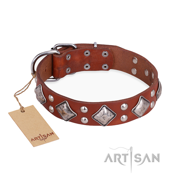 Comfortable wearing remarkable dog collar with corrosion proof hardware