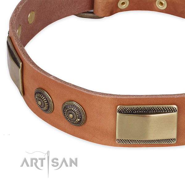 Stylish natural genuine leather collar for your stylish canine