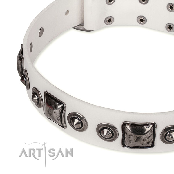 Soft to touch genuine leather dog collar made for your beautiful pet