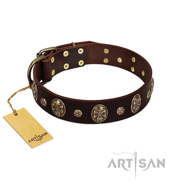 Convenient full grain genuine leather collar for your four-legged friend