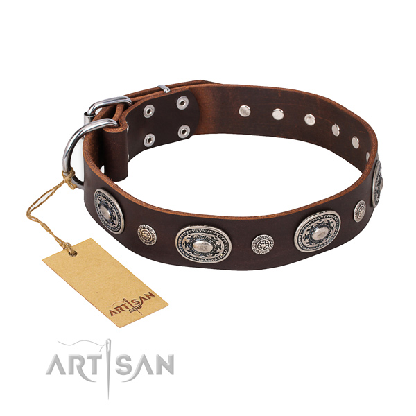 Top notch full grain genuine leather collar created for your dog