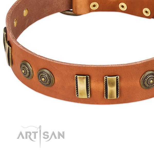 Durable hardware on natural leather dog collar for your dog