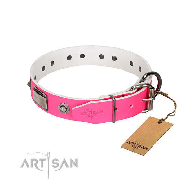 Adjustable dog collar of leather with adornments
