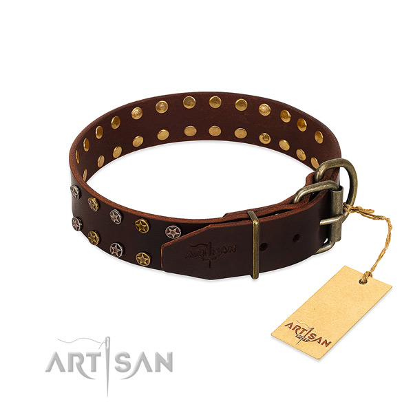Fancy walking full grain genuine leather dog collar with extraordinary decorations