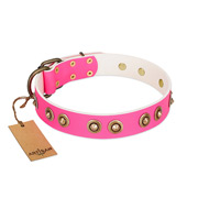 """Bright Delight"" Pink FDT Artisan Leather dog Collar with Large Old Bronze-like Plated Studs"
